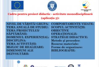 Proiecte didactice, 2-3 ani
